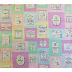 """Tela Japonesa Patchwork con etiquetas de perfumes en colores suaves. Colección """"Live Life"""" by Yuwa Fabrics"""