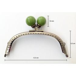 Boquilla para monedero oro viejo con perlas verdes. Ideas Pack&Quilt