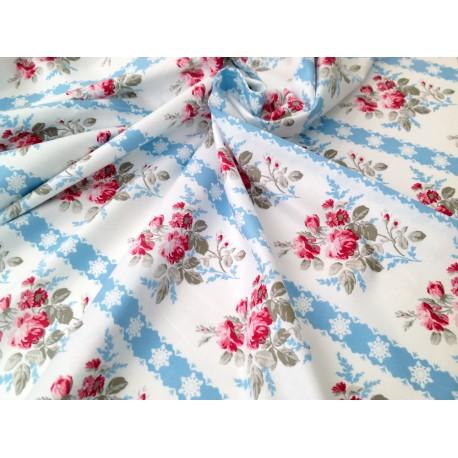 """Tela Patchwork de flores vintage. Colección """"Winter Garden"""" by Tania Whelan"""